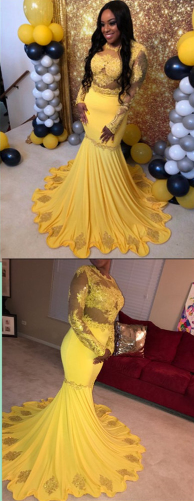 Long Mermaid Evening Dress Long Sleeve Prom Gowns Yellow