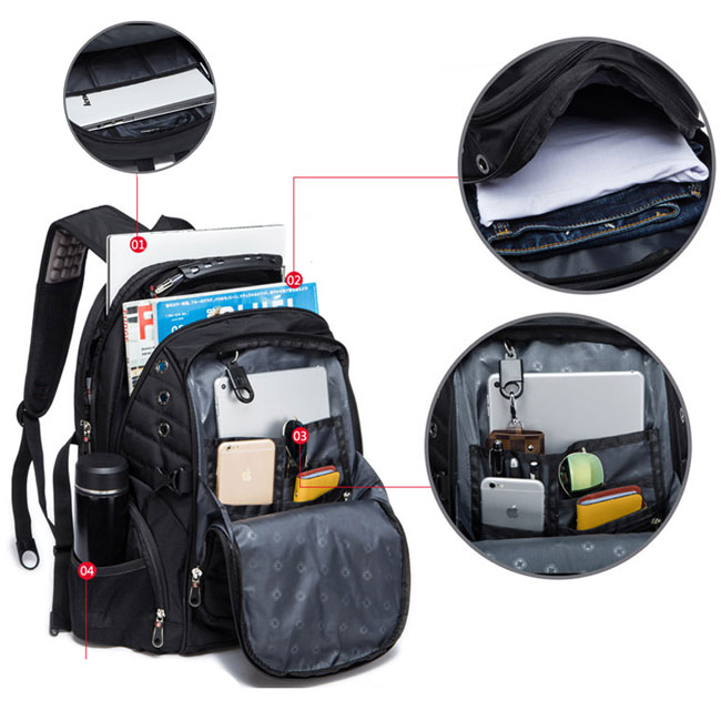 4a07abf4c4a7 ... Cool Strong Outdoor Nylon Oxford Bag Waterproof Black Large Multi-functional  Camping Men Travel Backpack