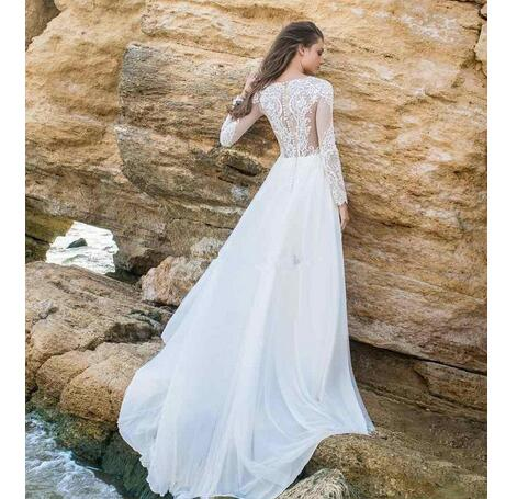 d295e30e7b A line Beach Wedding Dresses 2019 Sheer Neck Long Sleeves Appliques Chiffon  Hollow Back Bridal Gowns