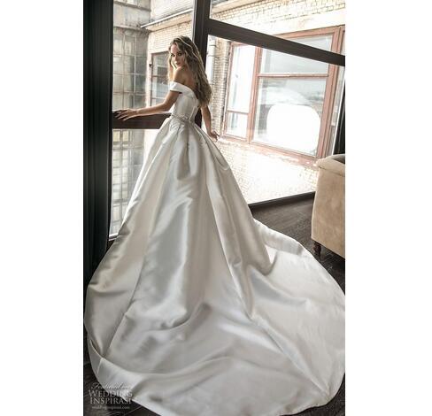 9374245531 Princess Off Shoulder Satin A Line Wedding Dresses 2019 With Beaded Crystal  Sash Custom Made Bridal