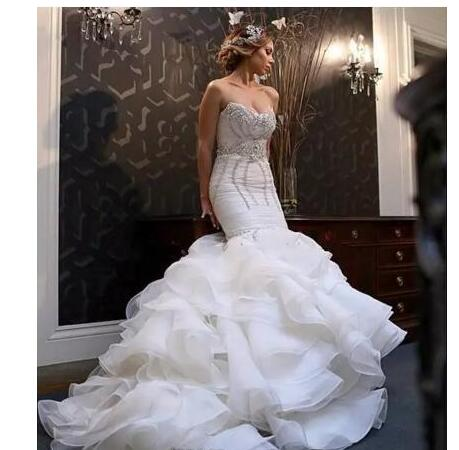 Mermaid Wedding Dresses Plus Size Bling Crystal Beaded Court Train Bridal Gowns Organza Ruffles Tiered Skirt Bridal Dress Sold By Wedding Store On Storenvy