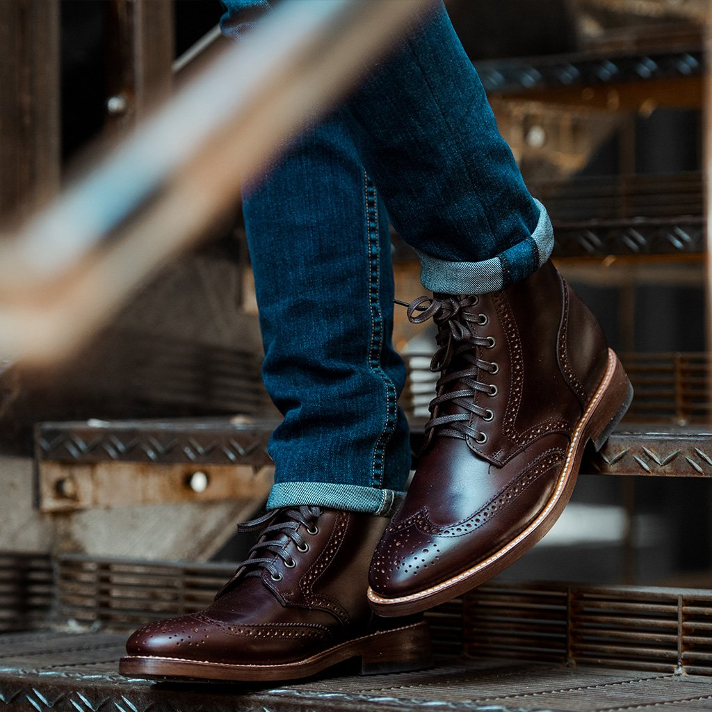 70148cb9255 Handmade Mens Wingtip brogue ankle leather boots,Men lace up ankle leather  boots from Rangoli Collection