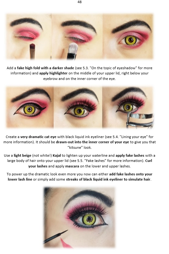 a4aadb7259 ... Tutorial Ebook: Cosplay Makeup & Contactlenses (shows Ahri, Xayah, D.Va