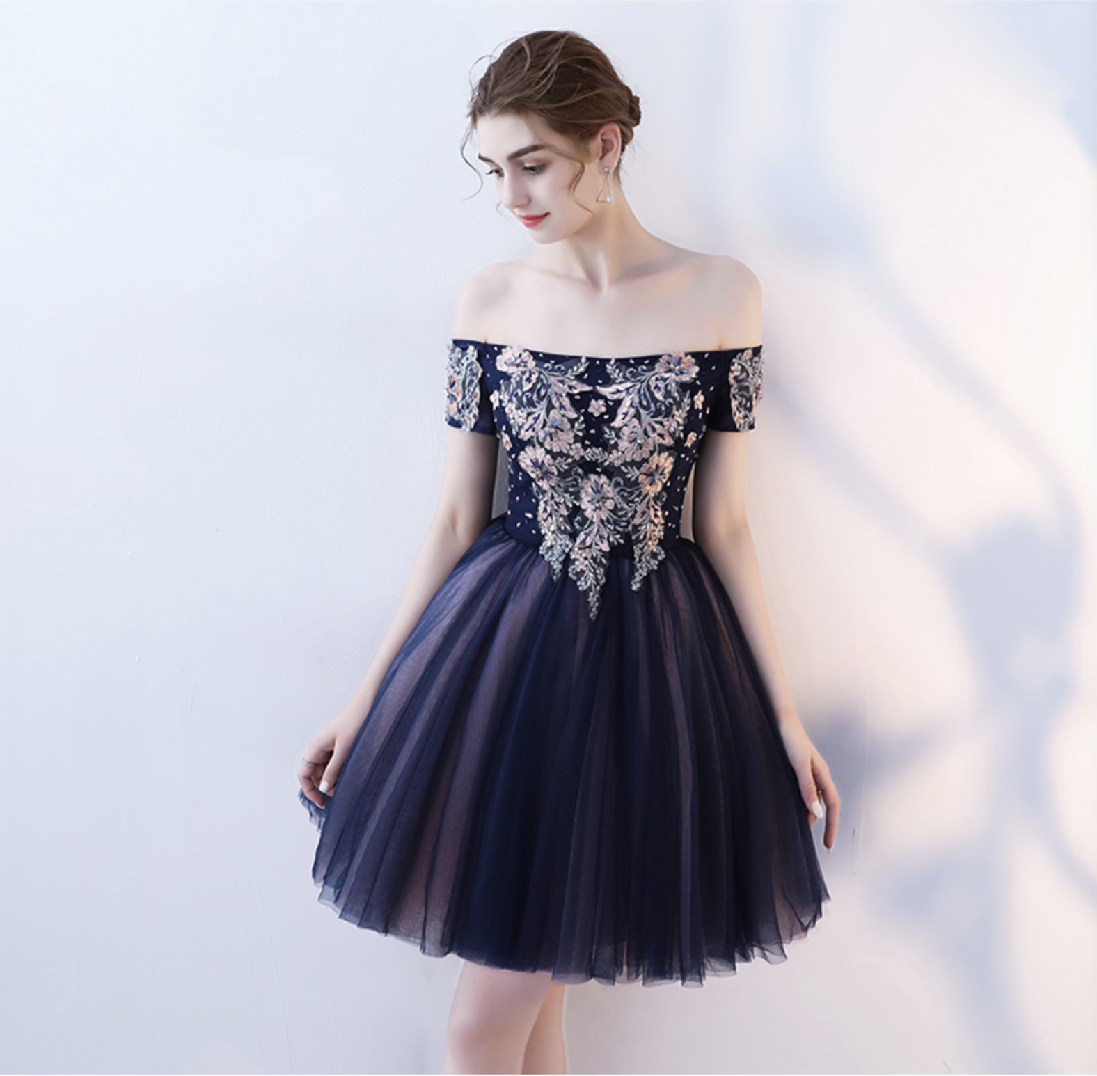 b79a906d4ab Cute tulle lace off shoulder short prom dress, homecoming dress - Thumbnail  1 ...