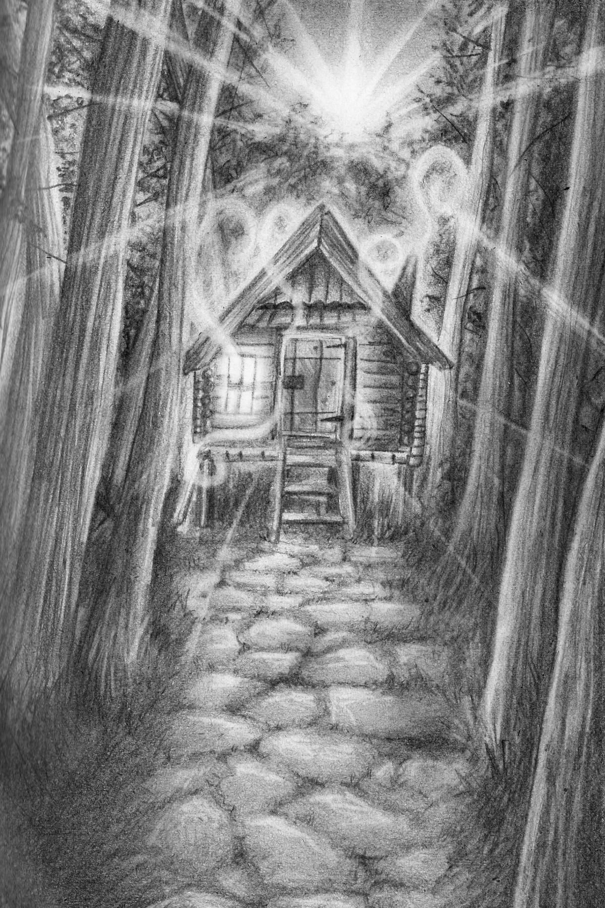 Ehizelloween haunted house pencil drawing print from sophie leigh ehizellbob