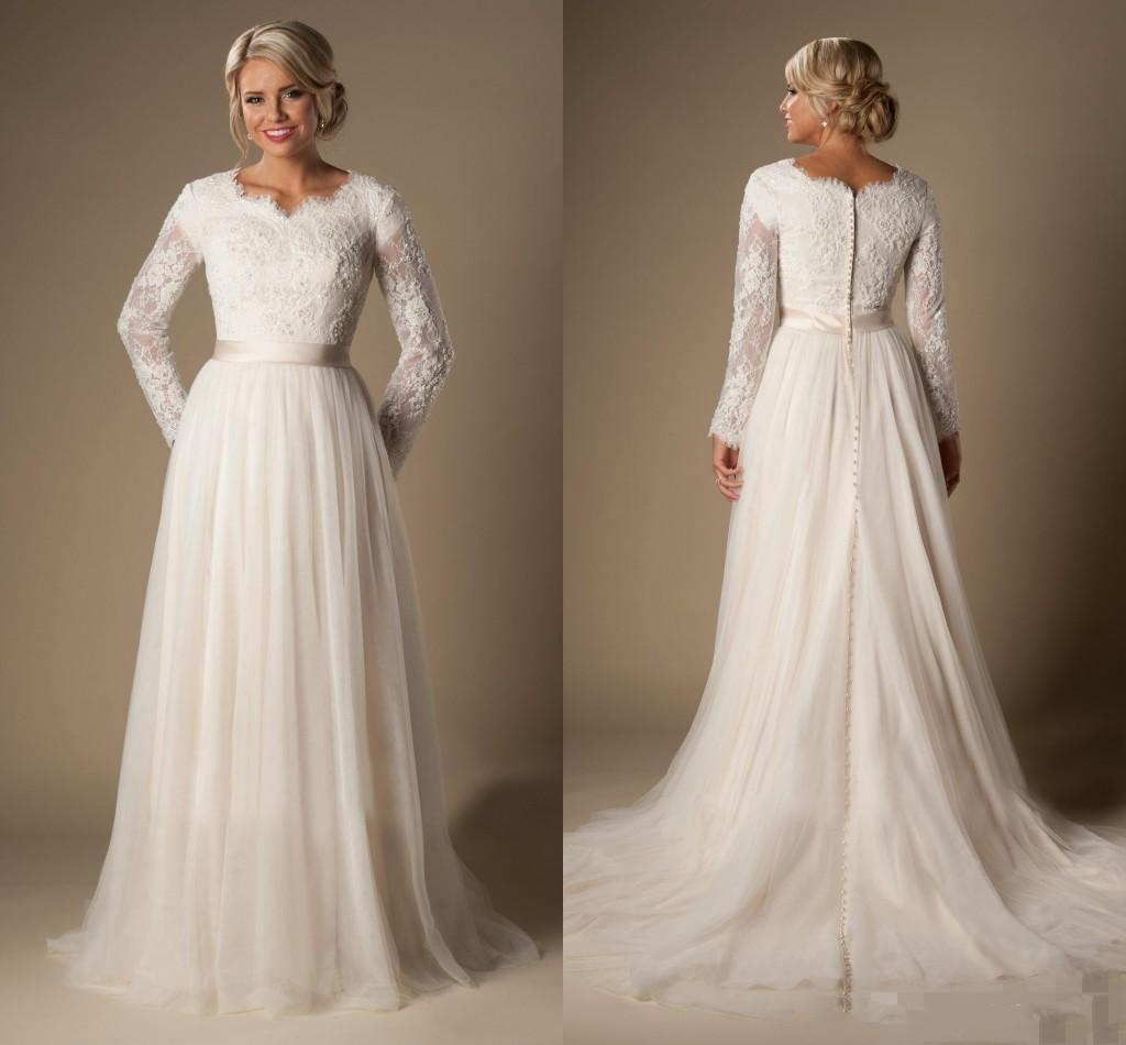 Aline Lace Wedding Dresses Long Sleeves Vneck Sheer Trains Buttons Back: Plus Size Wedding Dress Trains At Reisefeber.org