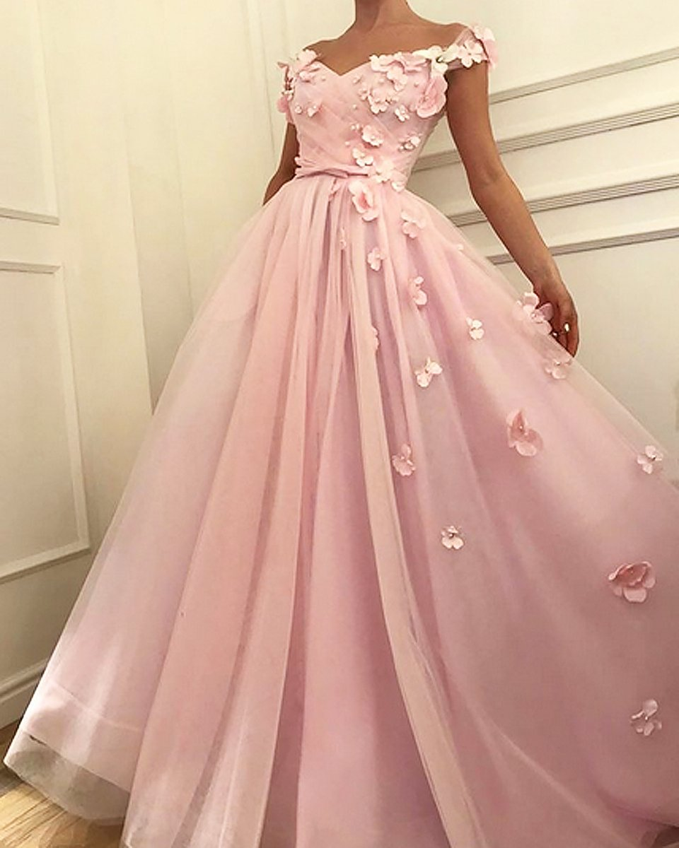 c7c10804ba7f Chic A-line Off-the-shoulder Pink Prom Dress Floral Prom Dresses Long