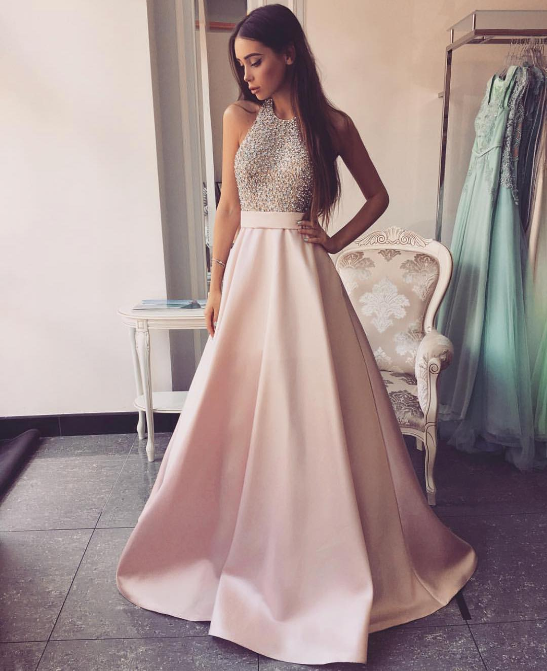8890f2d4803c Light Pink Long Prom Dress - Aztec Stone and Reclamations