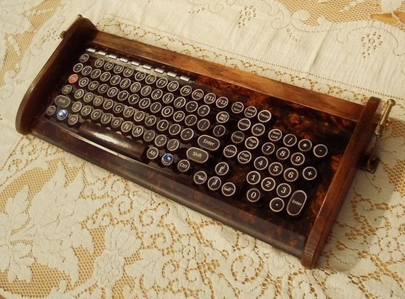 Antique Looking Keyboard Mouse Victorian Styling Steampunk Typewriter Burl Wood On Storenvy