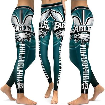 0d2f07df0484d Philadelphia eagles women sports fitness and workout football leggings -  Thumbnail 5