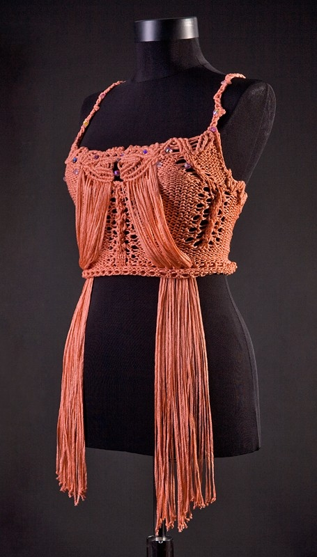 macrame clothes uniquastudio macrame knitted top sunset cowboy 8503