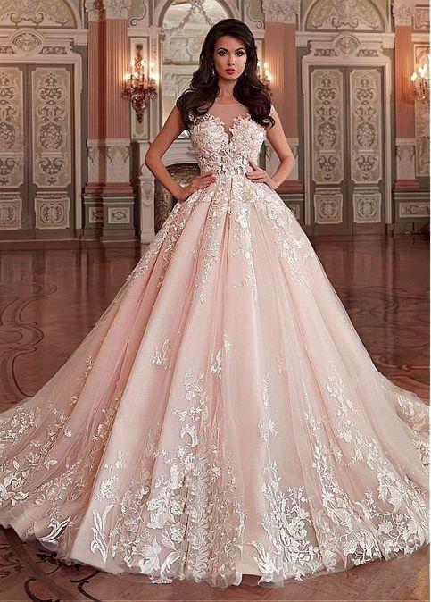 Stunning Light Pink Wedding Dress Appliques Lace