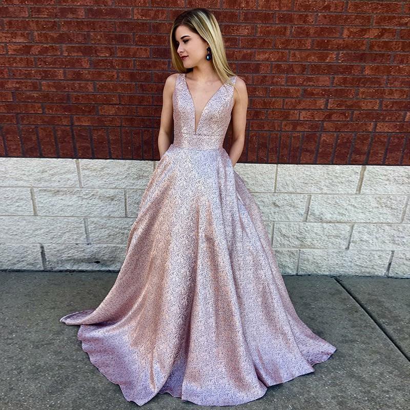 d6b8a0e1fdab Deep V-Neck Prom Dress