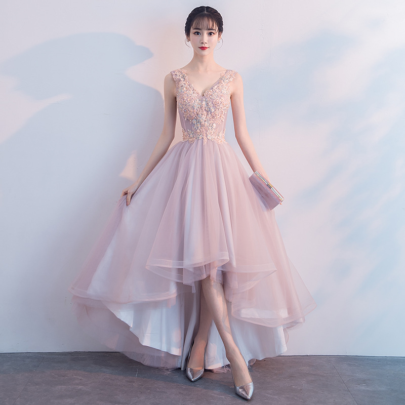 fashion factory authentic Good Prices Pink v neck tulle lace prom dress, high low evening dress from Little Cute