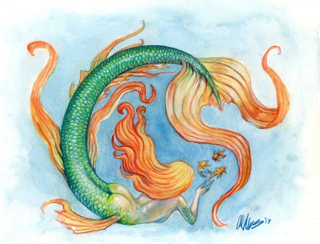 Original mermaid fantasy art mixed media watercolor colored pencil painting three fishes