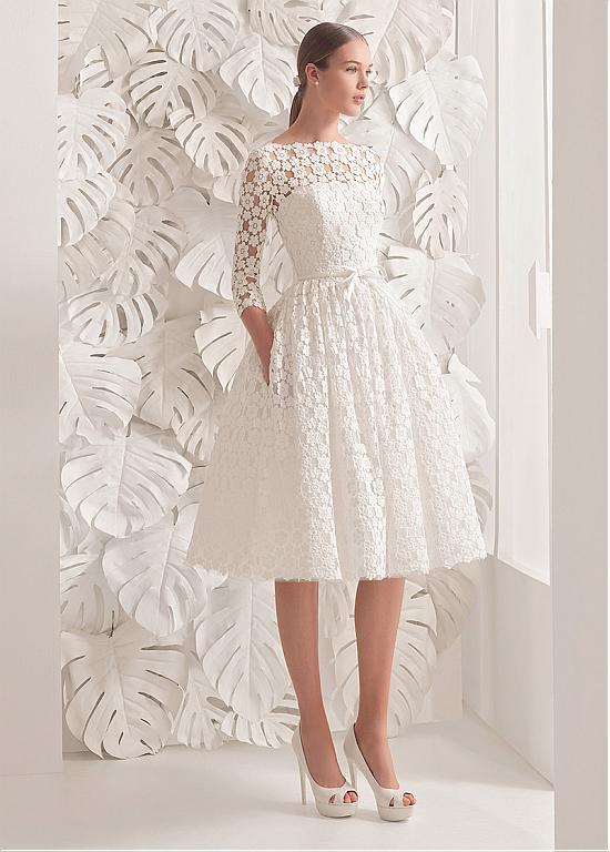 Fantastic Lace Bateau Neckline A Line Tea Length Wedding Dress With