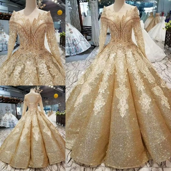 Luxury Gorgeous Gold Wedding Dresses 2019 Ball Gown Glitter