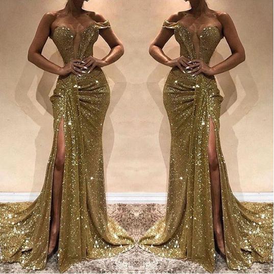 343293ba89b Mermaid Gold Sparkly Sequins Long Prom Dress G27 · charminggirldress ...