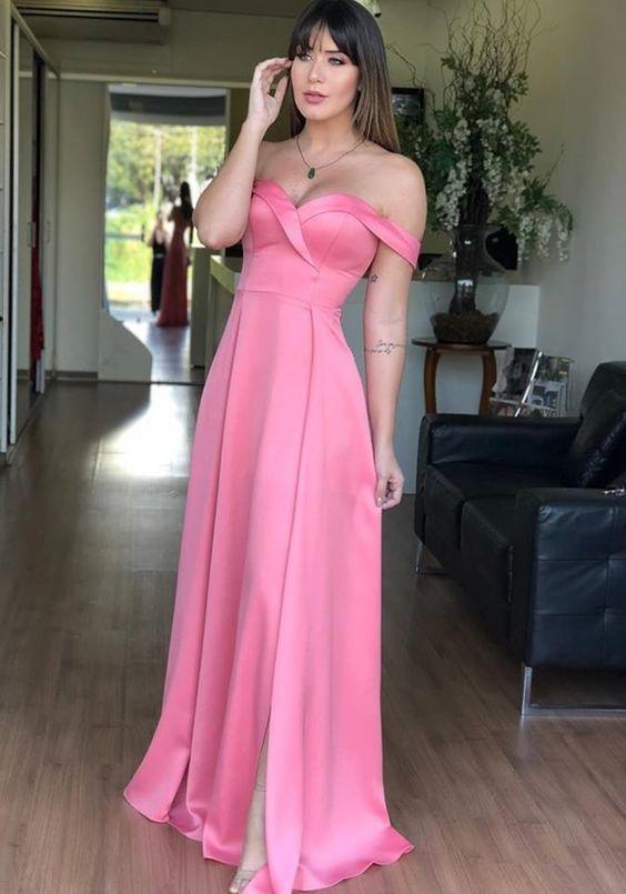 748d88da56 Off the Shoulder Hot Pink Side Slit Long Prom Dress
