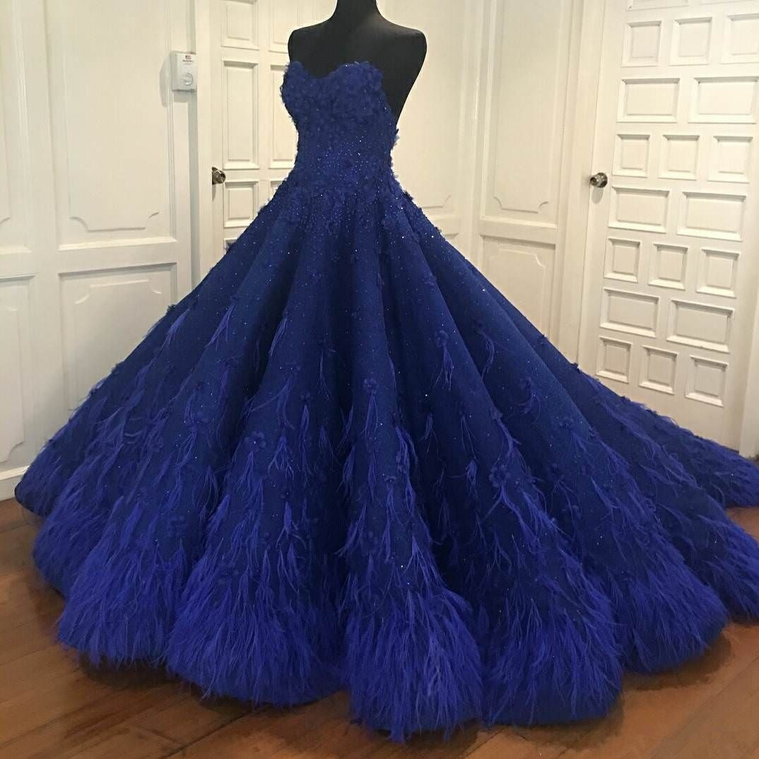 Feather Dressing Gown: Luxury Royal Blue Sweetheart A-Line Prom Dresses,Beaded