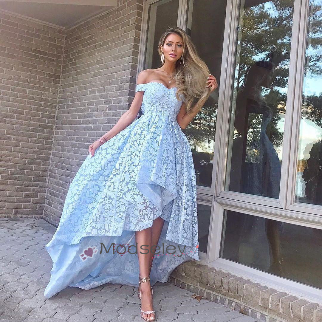 High Low Light Sky Blue Lace Party Dress Off Shoulder ... 71e9b5b32