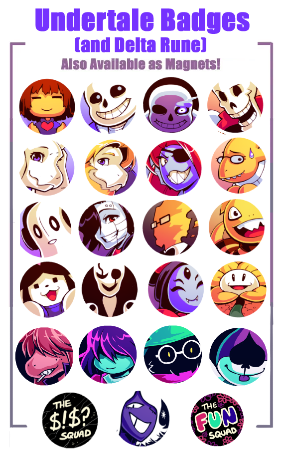Undertale and Delta Rune Badges from H0ly's Art Corner