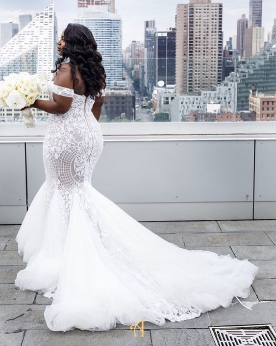 8516ad307a5 Stunning Mermaid Plus Size Tulle Wedding Dresses Off the Shoulder Pearls  Lace South African Girl Bridal ...