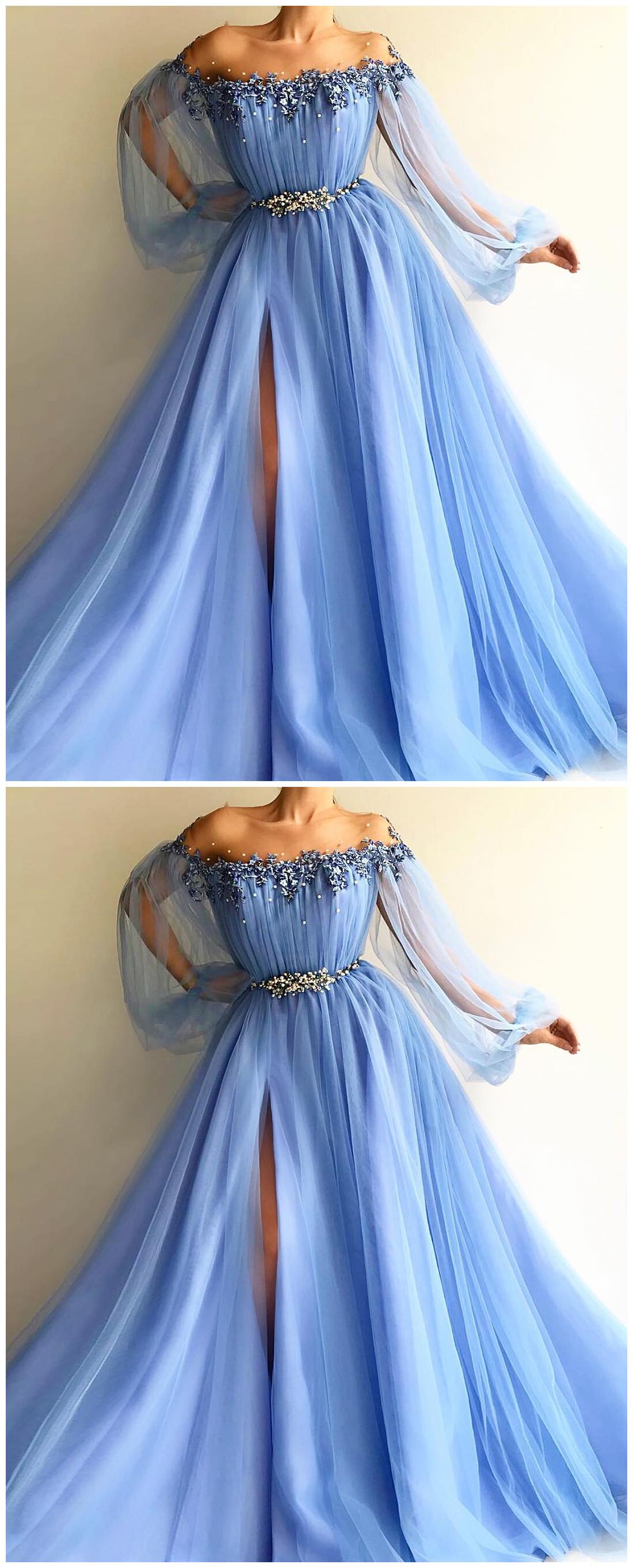 Petite Blue Hot Long Prom Dress Sexy Slit Evening Dress A Line Prom