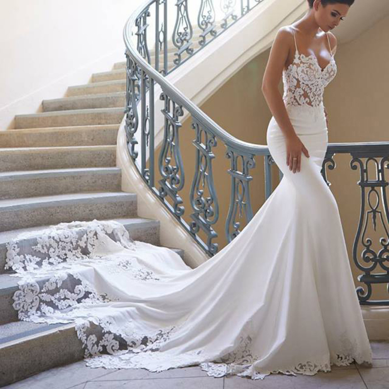 32f05b5b2065e Spaghetti Strap Mermaid Wedding Dress with Lace, Sexy Bridal Dress with  Court Train, W51 on Storenvy