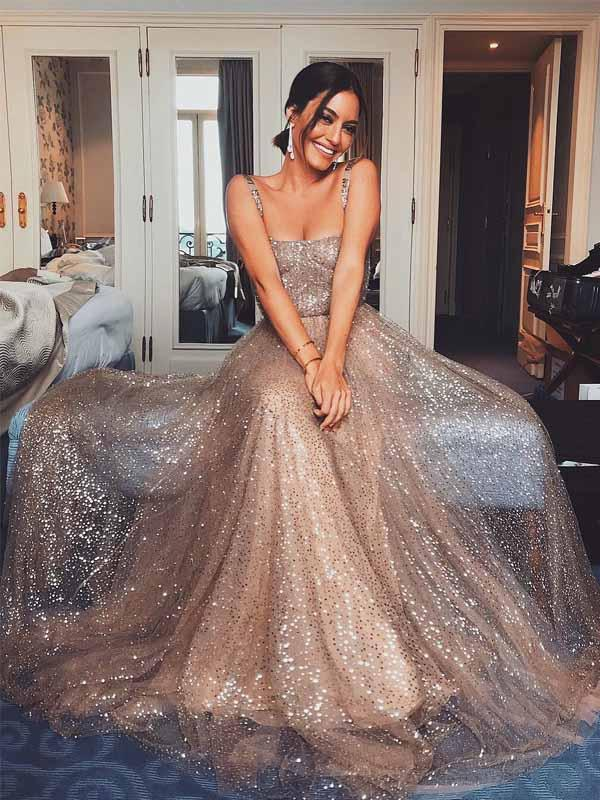 a00975e144cdf Sparkly Gold Sequin Suqare A-line Cheap Evening Prom Dresses, Cheap Custom  Sweet 16 Dresses, 18476 from OkBridal