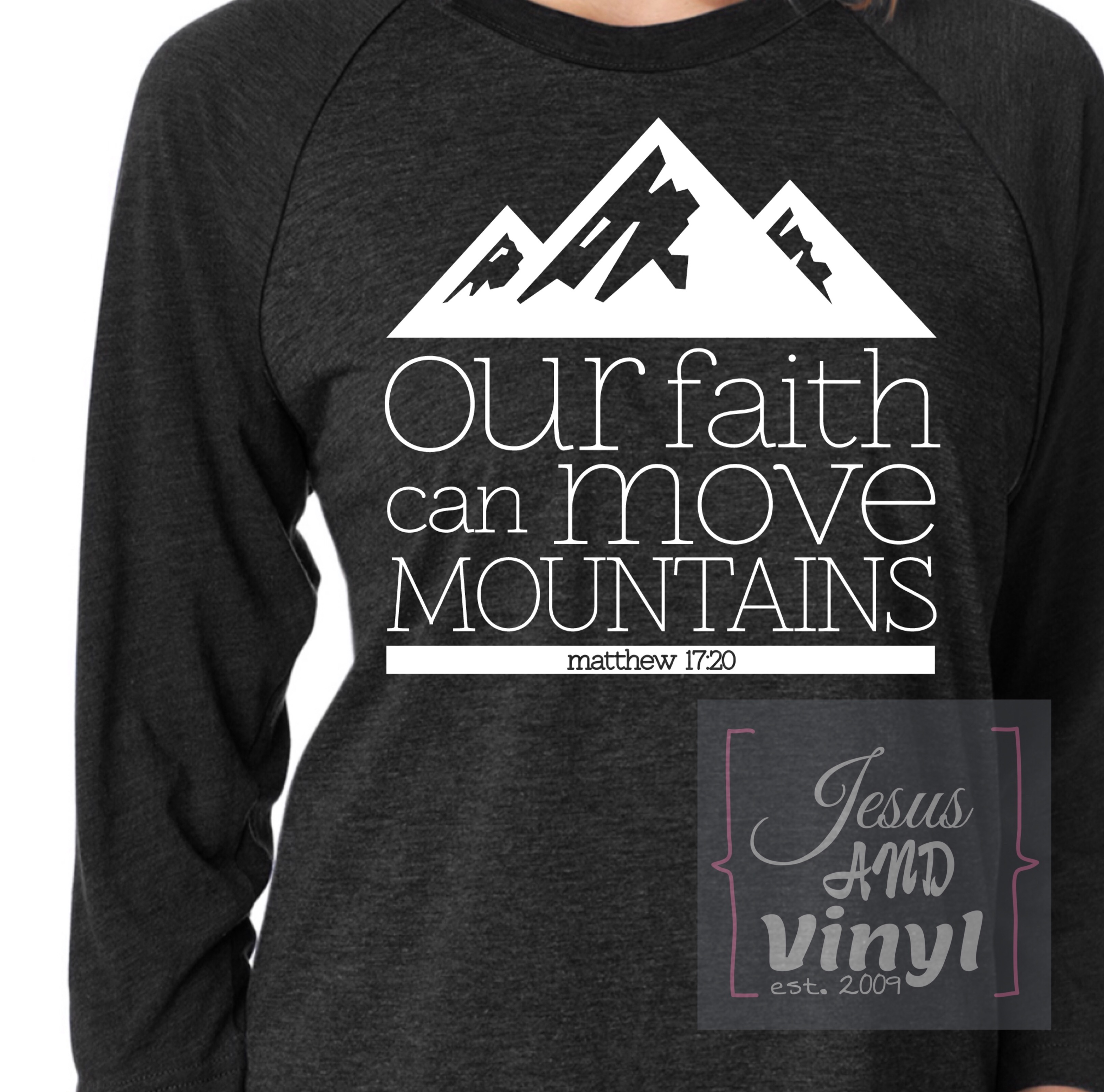 5f3bdac16 Womens Next Level raglan style baseball shirt Faith Can Move Mountains