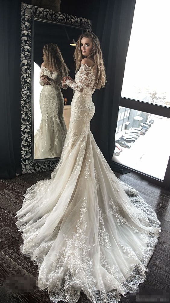Beautiful Wedding Dresses.Exquisite Lace Appliques Beaded Wedding Dresses Mermaid Sheath Beautiful Bridal Dresses Sweep Train Wedding Gown 263 Sold By Prettyprom