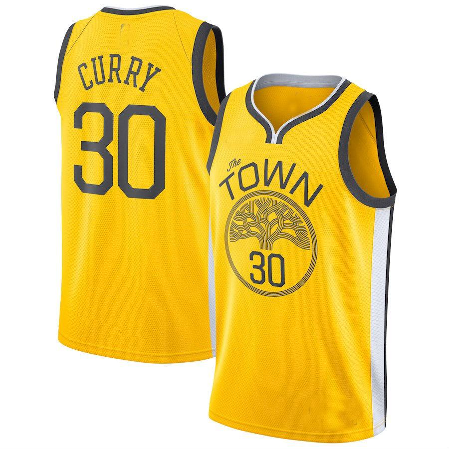 eab79faf4d10 Men s Golden State Warriors  30 Stephen Curry Yellow 2018 19 Swingman Jersey  – Earned