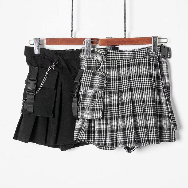bf4565f610 ... Detachable pocket chain buckle with plaid irregular pleated short skirt  - Thumbnail 2 ...