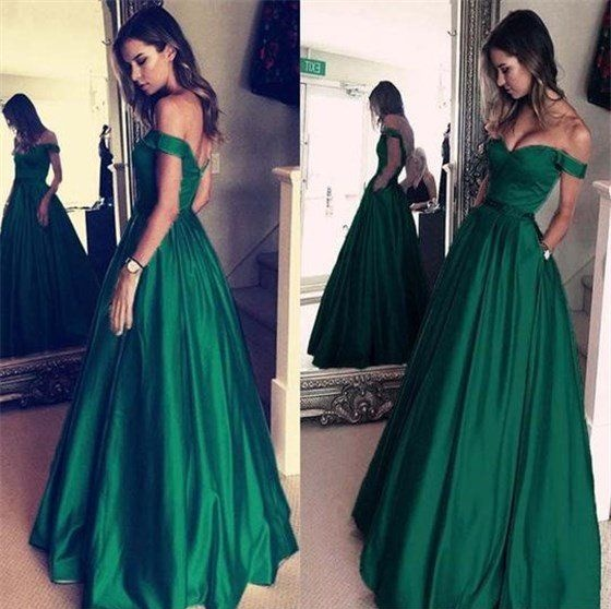 aaadd0cdbe6 Off The Shoulder Simple Elegant Green Long Prom Dresses With Pockets ...
