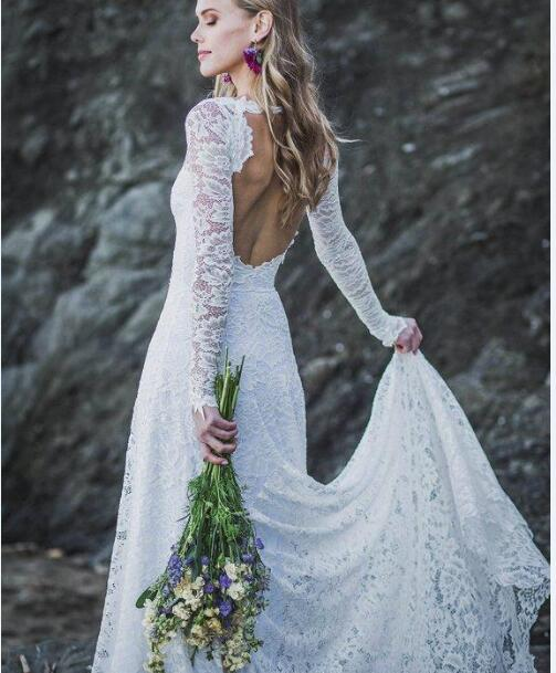 b061e7b6590 Boho Wedding Dresses Long Sleeves Lace Keyhole Back Wedding Gowns Scoop  Garden Bridal Dresses Sweep Train