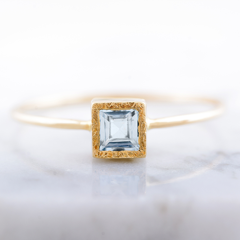 Perfect Christmas Gift For Wife.Aquamarine Engagement Ring Natural Aquamarine Ring Square Gemstone Ring Perfect Christmas Gift For Woman Handmade Gold Gift From Arpelc Jewelry