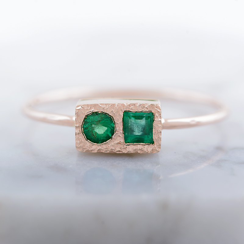 Emerald Ring, Two Stone Ring, Mother's Ring, Gold Emerald Ring in 14k gold,  Handmade Gold Ring from Arpelc Jewelry