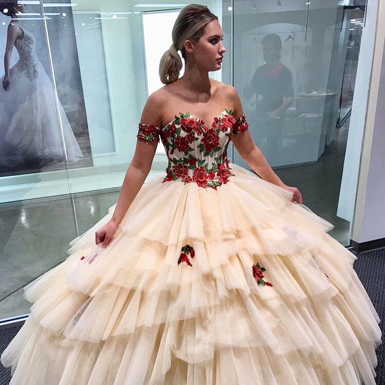d788ac06 Champagne Tulle Ball Gown Quinceanera Dresses Off Shoulder Lace Appliques  Layered Floor Length Formal Evening Dresses