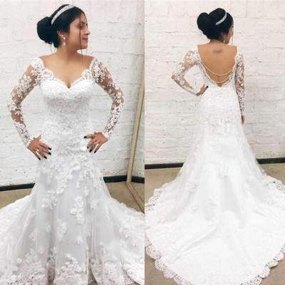 18ae2b443d Vintage lace wedding dresses mermaid long sleeve backless sweep train v  neck simple cheap wedding gown
