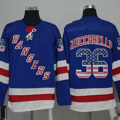 Men s new york rangers  36 mats zuccarello hockey jersey blue flag version ce2c65f18