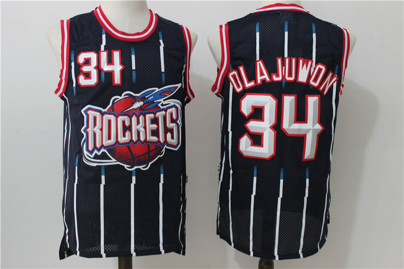 350abea00 Men s Houston Rockets 34 Hakeem Olajuwon Navy Hardwood Classics Retro Jersey
