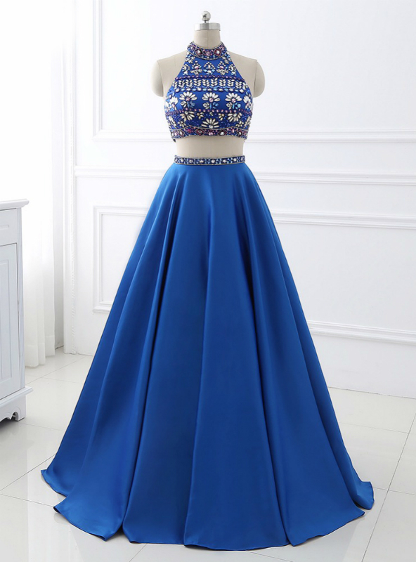 d9e4b4ee34b A-Line Royal Blue Satin Two Piece Halter Backless Prom Dress With  Crystal