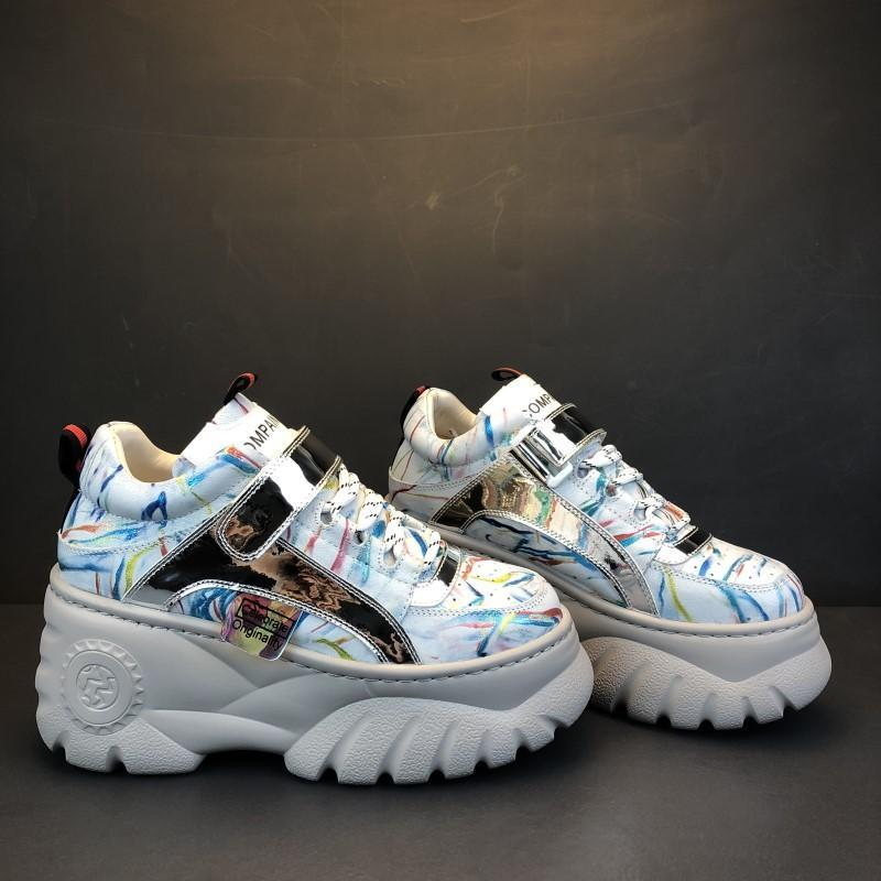 5b3c507ba21f ... SPORTY COLORFUL STROKES HOLOGRAPHIC THICK PLATFORM SNEAKERS - Thumbnail  2
