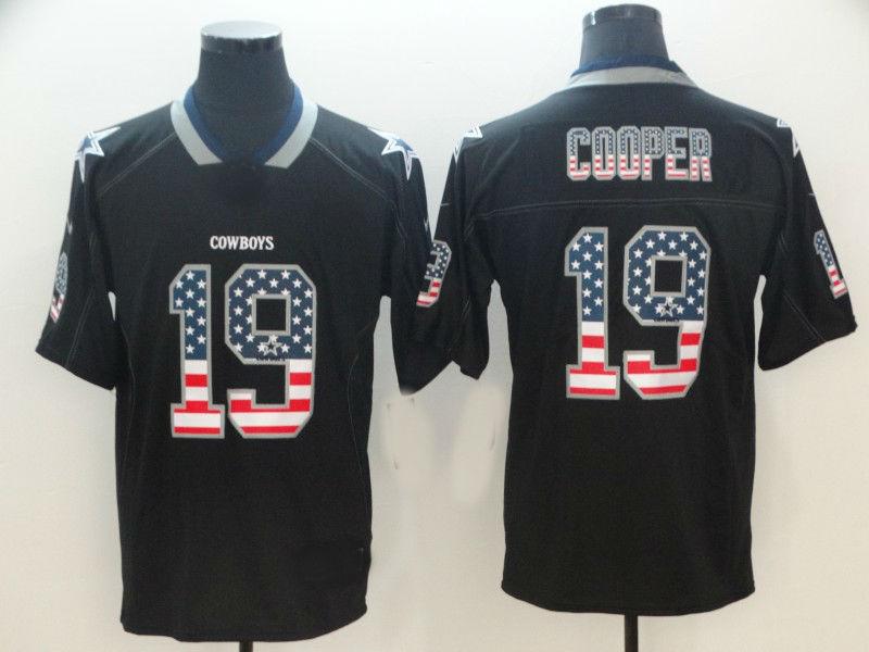 new product 2893f c0b0c Men's Dallas Cowboys #19 Amari Cooper USA Flag Fashion Black Color Rush  Limited Jersey