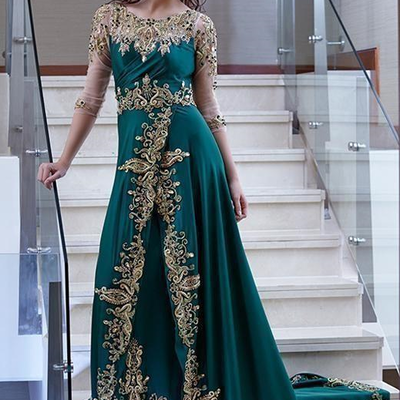 c08f174ad89 Arabic dubai hunter green evening dresses sheer long sleeves gold lace  appliqued embroidery beaded celebrity prom