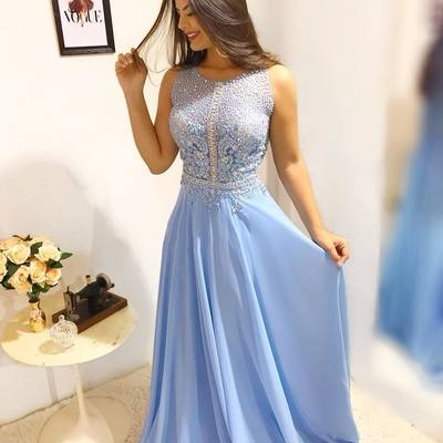 558cdc3d9b364 Luxury blue beaded evening dress jewel neck appliques floor length high  quality prom dresses women long