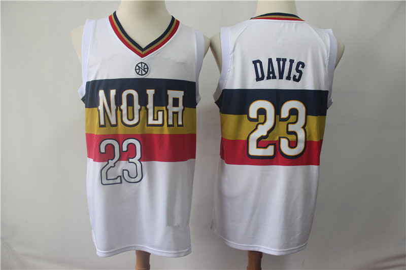 7c919b50465 Men s New Orleans Pelicans 23 Anthony Davis 2018 19 Jersey White Earned  Edition