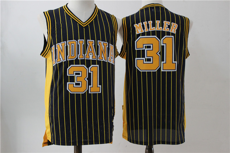 410e8a128d42 ... coupon code for throwback mens indiana pacers 31 reggie miller black  retro jersey bb4b2 e2af0