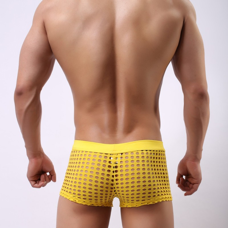 21efeded0ce Yellow sexy gay mens mesh holes transparent fishnets panties underpants  underwear - Thumbnail 1 ...